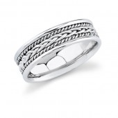 14k White Gold Mens Wedding Band 7MM with Hand Made Rope Trim