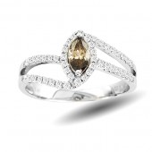Champagne & White Diamond Ring