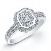 14k White Gold Emerald Cut Diamond Pave Ring