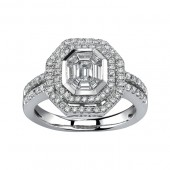 14k White Gold Split Shank Diamond Mosaic Center Ring