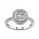 14k White Gold Emerald Cut Center Diamond Ring