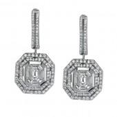 14k White Gold Diamond Mosaic Center Earrings