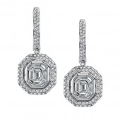 14k White Gold Pave and Channel Diamond Mosaic Center Earrings