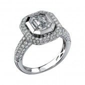 14k White Gold Diamond Encrusted Mosaic Center Ring