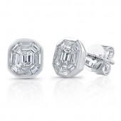 14k White Gold Diamond Mosaic Earrings