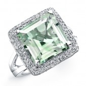Sterling Silver Green Amethyst Diamond Split Shank Ring