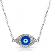 14k White Gold Diamond Dark Blue Enamel Evil Eye Chain Necklace