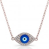 14k Rose Gold Diamond Dark Blue Enamel Evil Eye Chain Necklace