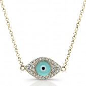 14k Yellow Gold Diamond Light Blue Enamel Evil Eye Chain Necklace