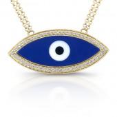 14k Yellow Gold Enamel Evil Eye Diamond Necklace