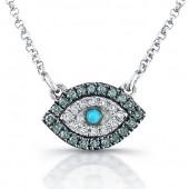 14k White Gold Diamond Evil Eye Necklace