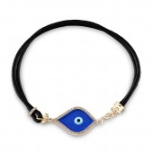 14k Yellow Gold Dark Blue Enamel Diamond Evil Eye Bracelet