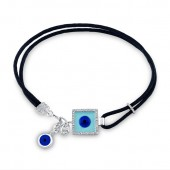 14k White Gold Diamond and Light Blue Enamel Square Evil Eye Bracelet