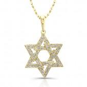14k Yellow Gold Diamond Star of David Triangle Pendant