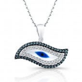 14k White Gold Diamond Swirl Evil Eye Pendant