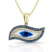 14k Yellow Gold Diamond Swirl Evil Eye Pendant