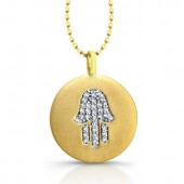 14k Yellow Gold Diamond Hamsa Disk Pendant