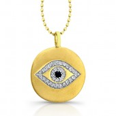 14k Yellow Gold Diamond Evil Eye Disk Pendant