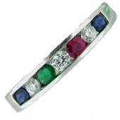 Ruby, Emerald, Sapphire & Diamond Ring