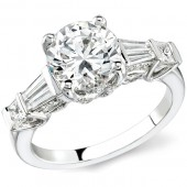 14k White Gold Pave and Channel Set Princess Cut Diamond Semi Mount