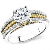 18k White and Yellow Gold Prong Round Diamond Semi Mount