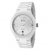 Rougois Men's White Ceramic Watch with Genuine Diamonds