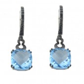 Blue Topaz & Black diamond Earrings