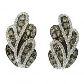 Fancy Brown & White Diamond Earrings