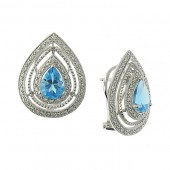 Blue Topaz and Diamond Earrings