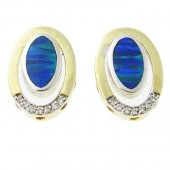 Inlaid Gilson Opal & Diamond Earrings
