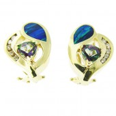Rainbow Topaz, Opal & Diamond Earrings