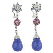 Tanzanite, Pink Tourmaline & Diamond Earrings