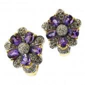 Amethyst and Brown Diamond Earrings