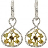 Multi colored & White Diamond Earrings