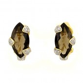 Smoky Topaz & Diamond Earrings