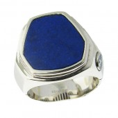 Men's Silver Lapis Ring