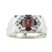 Men's Garnet & Diamond Ring