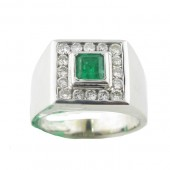 Mens Emerald & Diamond Ring