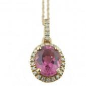 Pink Topaz & Diamond Necklace