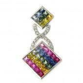 Multi Sapphire & Diamond Pendant