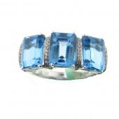 Blue Topaz &Diamond Ring