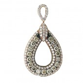 Pear Shape Halo Diamond Pendant with Brown and White Diamonds