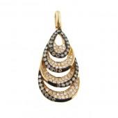Toffee Brown & white Diamond Pendant