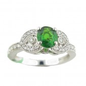 Tsavorite & Diamond Ring