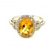Yellow Emerald and Diamond Ring
