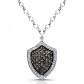Sterling Silver Diamond Shield Pendant