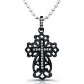 Black Sterling Silver Antique Diamond Cross Pendant