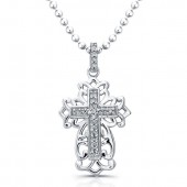 Sterling Silver Antique Diamond Cross Pendant