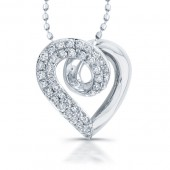 Stering Silver Diamond Pave Heart Pendant