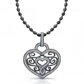 Black Sterling Silver Diamond Swirl Heart Pendant